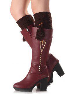 Tassel Pendant Flanging Knit Boot Cuffs - Coffee