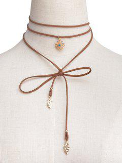 Rhinestone Flower Wrap Choker - Brown