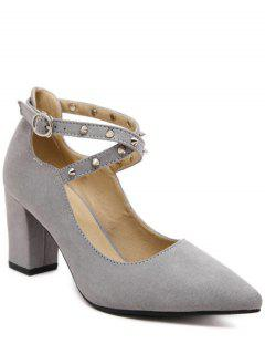 Chunky Heel Cross-Strap Rivet Pumps - Gray 38