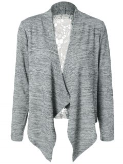 Lace Spliced Asymmetric Cardigan - Gray S