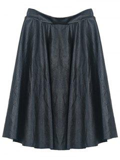 A Line PU Leather Skirt - Black