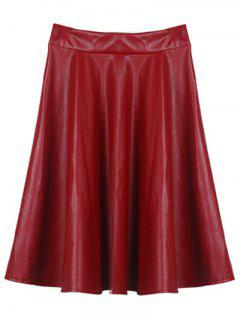 A Line PU Leather Skirt - Wine Red