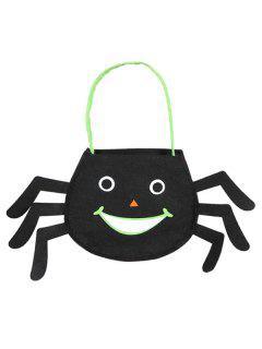 Spider Shaped Halloween Bag - Black