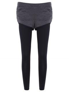 Slim Pockets Fake Twinset Leggings - Gray L