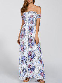 Floral De La Vendimia Impresión Rajó El Vestido De Hombro - Blanco