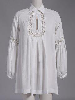 Chiffon Shirt Dress - White