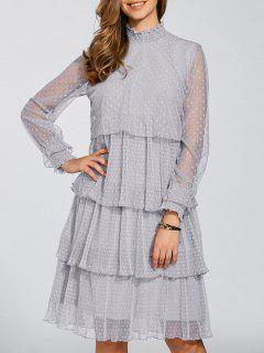 Layered Chiffon Polka Dot Dress - Gray S