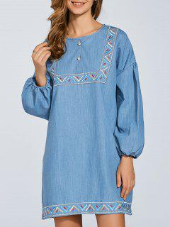 Embroidered Puff Sleeve Denim Dress - Light Blue