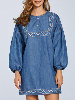 Embroidered Puff Sleeve Denim Dress - Deep Blue