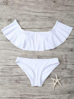 Ruffles Off Shoulder Bikini Swimwear - White L