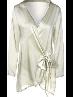 Long Sleeve Satin Mini Wrap Dress - Apricot S