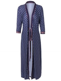 V Neck Printed Kimono Dress - Purplish Blue S