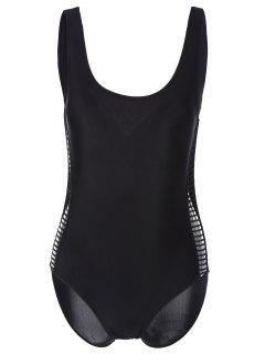 Hollow Out Scoop Neck Swimwear - Black S