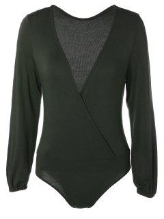 Long Sleeve Plunge Bodysuit - Blackish Green 2xl
