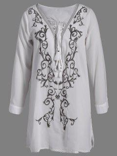 Plunging Neck Lace Up Embroidered Tunic - White