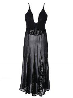 See-Through Lace Cami Dress - Black L