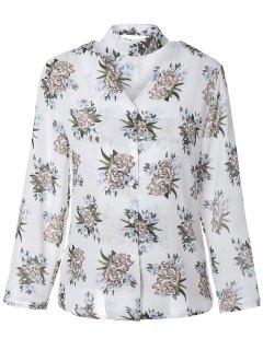 Col En V Floral Shirt - Blanc
