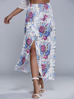 Vintage Floral Print High Waist Smock Skirt - Apricot