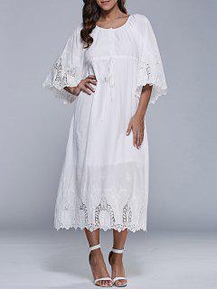 Vestido De Cambio Del Té De Longitud Bordado - Blanco S