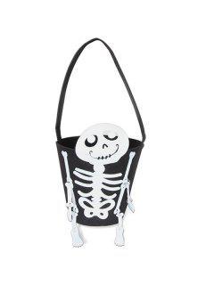 Skeleton Bucket Shaped Halloween Tote Bag - Black