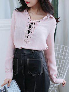 Shirt Neck Lace Up Blouse - Pink