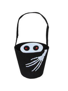 Skull Hand Bucket Shaped Halloween Tote Bag - Black