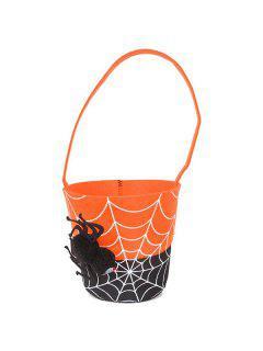 Color Block Spider Halloween Tote Bag - Orange