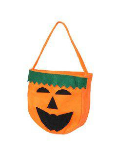 Halloween Color Block Pumpkin Tote Bag - Orange