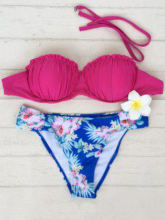 Tiny Floral Underwire Ruffles Bikini Set - Rose Red S