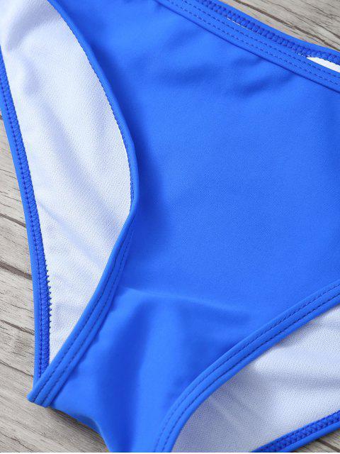 fancy Ruffles Off Shoulder Bikini Swimwear - SAPPHIRE BLUE XL Mobile