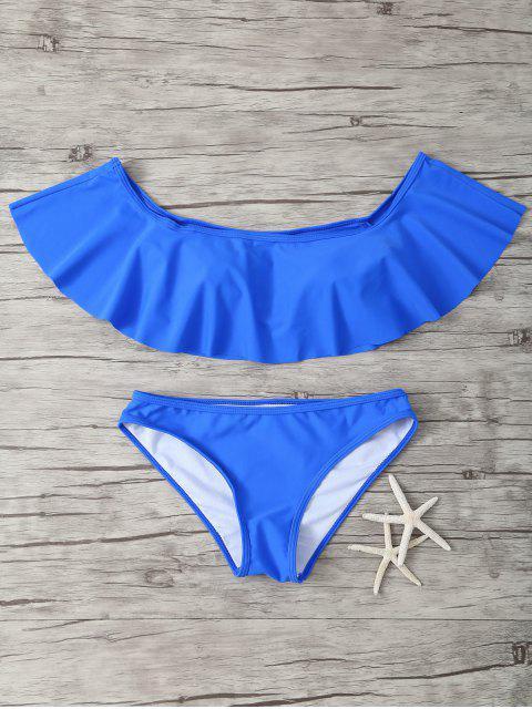 unique Ruffles Off Shoulder Bikini Swimwear - SAPPHIRE BLUE L Mobile