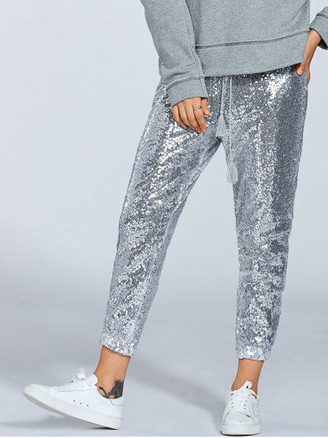 buy Sequins Drawsting Jogging Pants - SILVER M Mobile