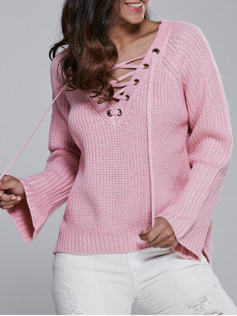 Hoch Niedriger V-Ausschnitt Schnürsenkel - Pink Eine Größe Mobile