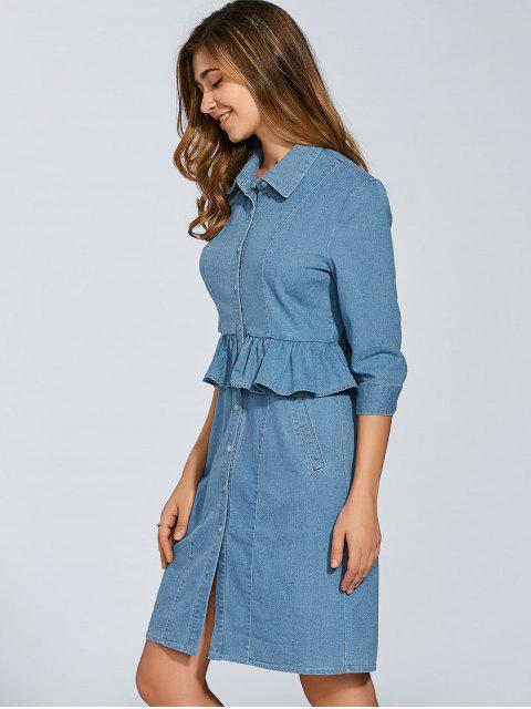 hot Denim Shirt Dress With Ruffles - DENIM BLUE 2XL Mobile