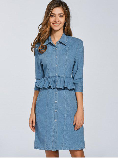shop Denim Shirt Dress With Ruffles - DENIM BLUE M Mobile