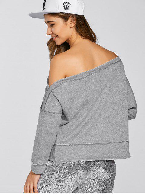 Une épaule Sweatshirt en vrac - Gris 2XL Mobile