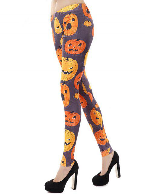 Taille haute Fit citrouille d'Halloween Leggings - Multicolore Taille Unique Mobile