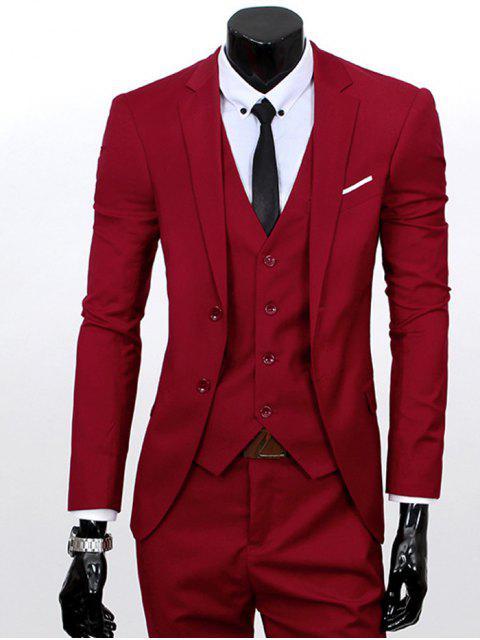 Revers Einreiher dreiteiligen Anzug - Weinrot L Mobile