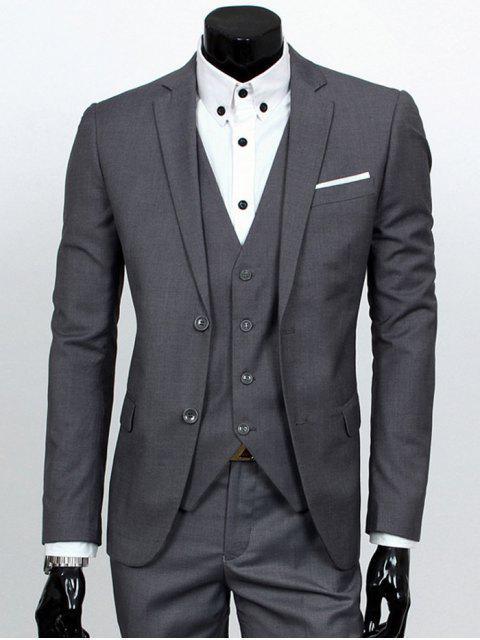 Revers Einreiher dreiteiligen Anzug - Dunkelgrau L Mobile