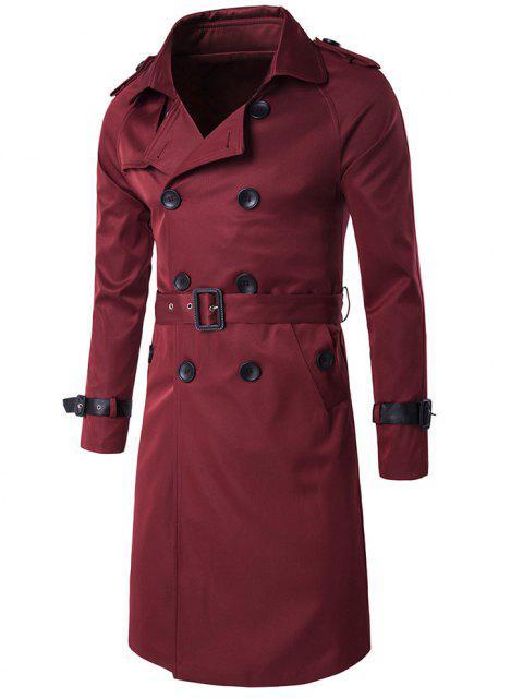 Manteau Long Design Épaulette à Double Boutonnage avec Ceinture - Rouge vineux  M Mobile
