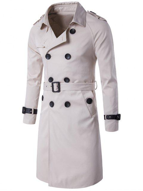 Epaulet PU-Ceinture en cuir Embellished Double-Breasted Long Trench Coat - Blanc Cassé M Mobile