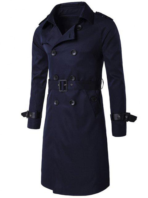 fancy Epaulet PU-Leather Belt Embellished Double-Breasted Long Trench Coat - CADETBLUE 2XL Mobile