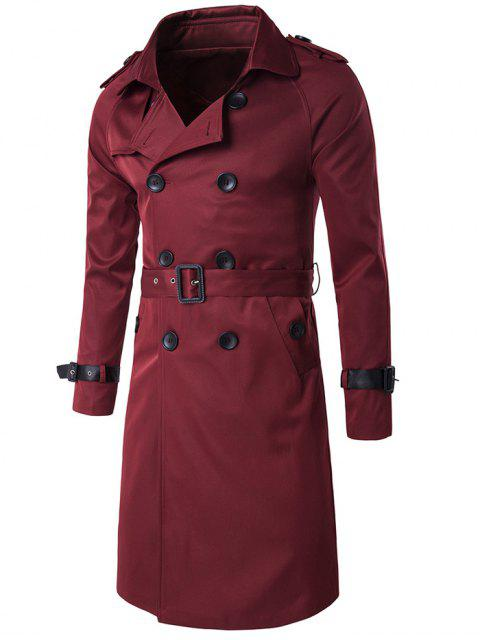 Epaulet PU-Ceinture en cuir Embellished Double-Breasted Long Trench Coat - Rouge vineux  M Mobile