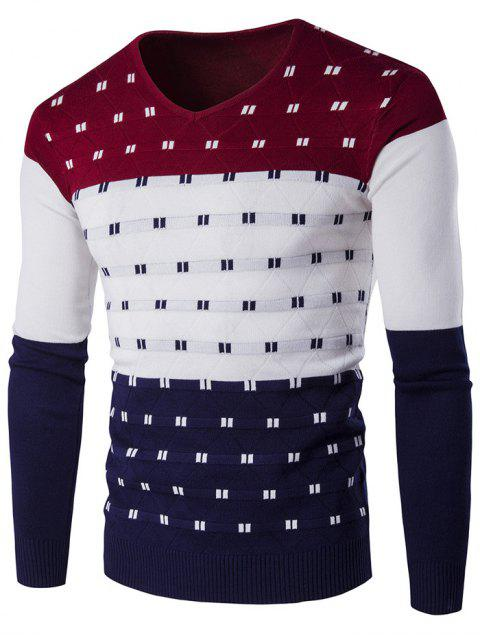 fashion V-Neck Geometric Pattern Color Block Sweater - WINE RED M Mobile