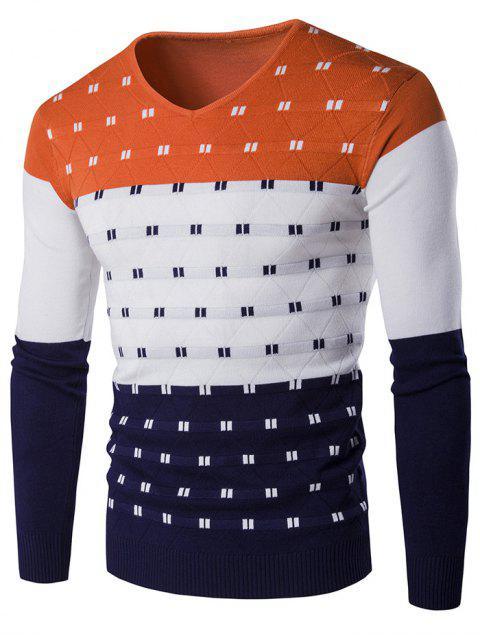 ladies V-Neck Geometric Pattern Color Block Sweater - ORANGE 2XL Mobile