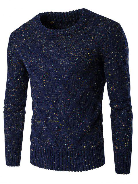 unique Crew Neck Colorful Kink Design Long Sleeve Sweater - CADETBLUE L Mobile