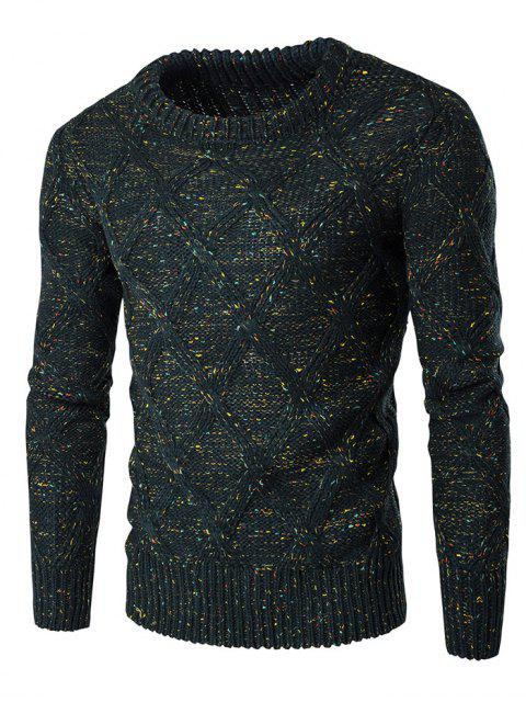 new Crew Neck Colorful Kink Design Long Sleeve Sweater - BLACKISH GREEN M Mobile