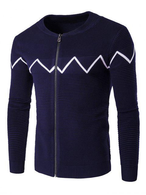 women Crew Neck Waviness Knitting Splicing Zip-Up Cardigan - CADETBLUE XL Mobile