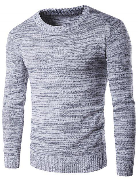 women's Crew Neck Space Dyed Sweater - GRAY L Mobile