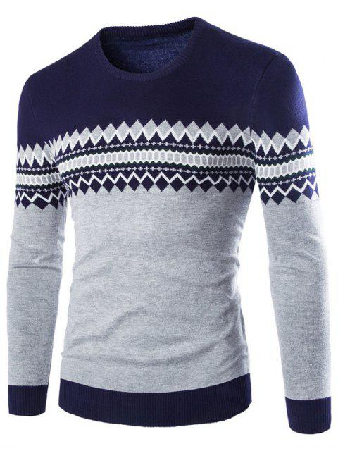 outfits Crew Neck Color Block Geometric Knitwear - CADETBLUE 2XL Mobile